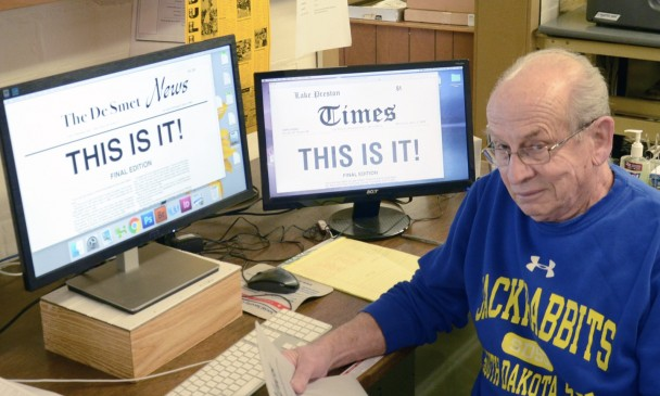 Dale Blegen peruses the final edition of The De Smet News, a paper that published for nearly 140 years before being reluctantly shut down by Blegen in April due to financial pressures long faced by newspapers and recently worsened by the COVID-19 pandemic.