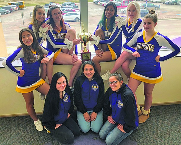 The Custer High School competitive cheer team won the Black Hills Conference championship last week. From left, back Chloe Carder, Summer Duffy, Moriah Kersey, Cinthia Rubio-Hernandez, Brynn Steed, Ava Smith; front, student managers Aiko Brazell, Jade Carder and Shabri Sylvester.