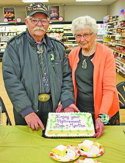 A retirement party was held March 12 at Lynn's Dakotamart for Bob and Martha Schilling, who retired from the store recently after 25 years of combined of work there. Bob officially retired Feb. 8, while Martha retired 20 days later.