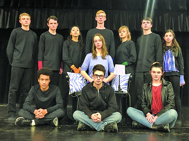 "These Custer High School students will present the One-Act play ""...And Others"" at the Region VI One-Act competiton as well as a public performance this Sunday. From left, back, are Miles Ellman, Timothy Johnson, Odalys Estrada, Danny Nelson, Rachel Larcher, Justus Kramer, Taylee Schramm; middle, Anna Marie Riner; front, Mical Grace, Jon Anker and Moriah Kersey."